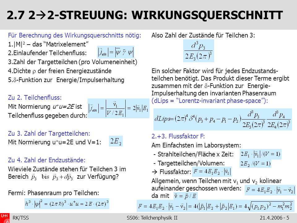 2.7 22-STREUUNG: WIRKUNGSQUERSCHNITT