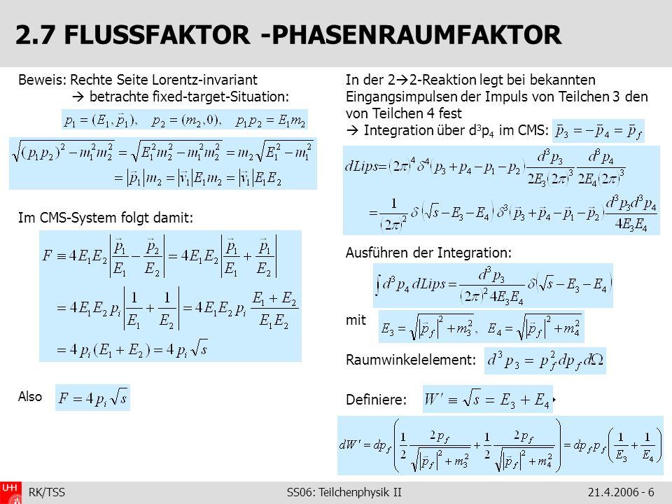 2.7 FLUSSFAKTOR -PHASENRAUMFAKTOR
