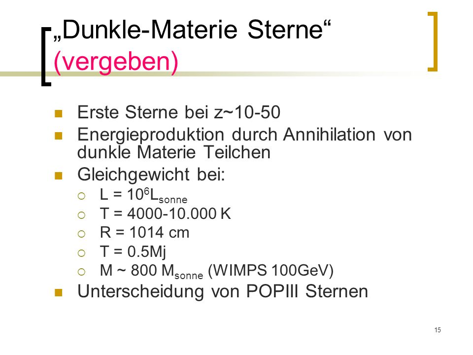 """Dunkle-Materie Sterne (vergeben)"