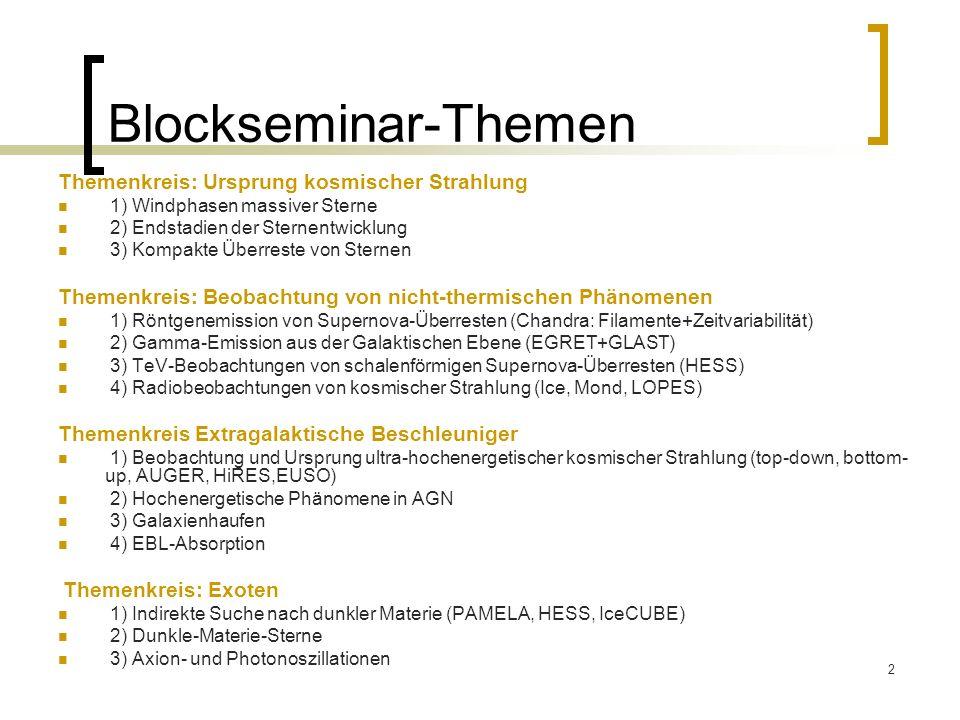 Blockseminar-Themen Themenkreis: Ursprung kosmischer Strahlung