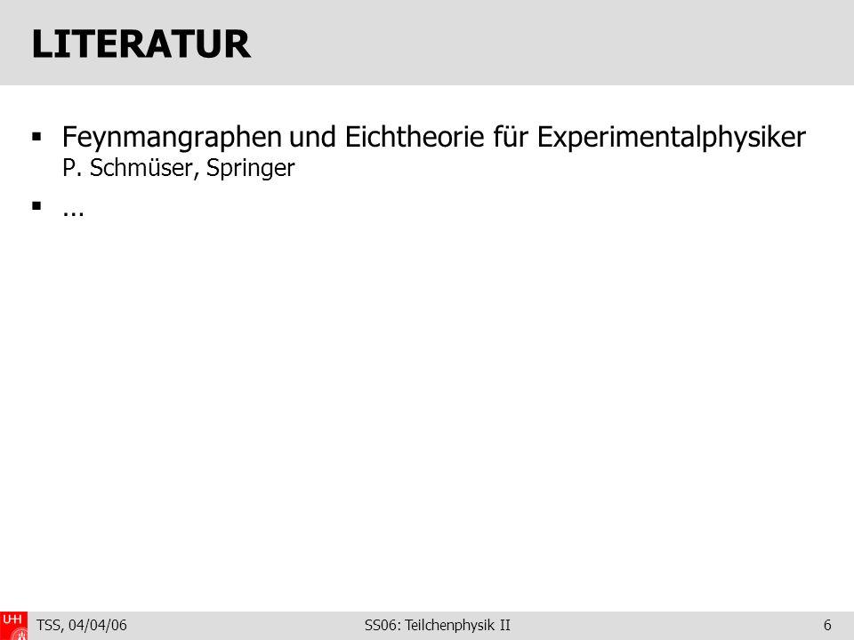 LITERATUR Feynmangraphen und Eichtheorie für Experimentalphysiker P. Schmüser, Springer. … TSS, 04/04/06.