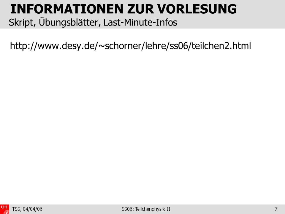 INFORMATIONEN ZUR VORLESUNG Skript, Übungsblätter, Last-Minute-Infos
