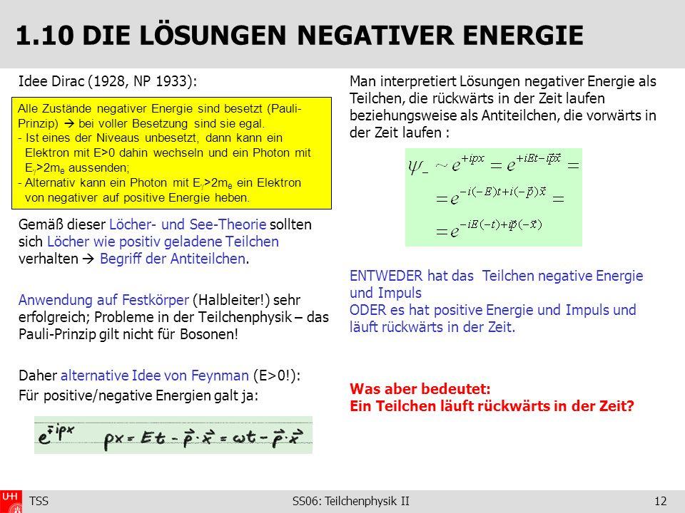 1.10 DIE LÖSUNGEN NEGATIVER ENERGIE