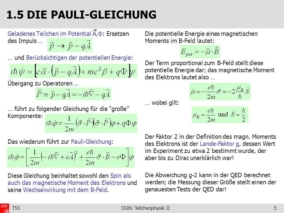 1.5 DIE PAULI-GLEICHUNG Geladenes Teilchen im Potential A,: Ersetzen des Impuls … … und Berücksichtigen der potentiellen Energie: