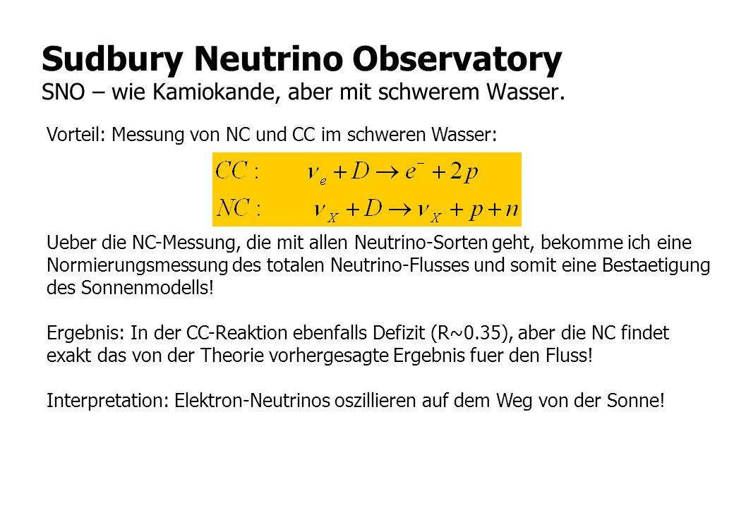 Sudbury Neutrino Observatory SNO – wie Kamiokande, aber mit schwerem Wasser.