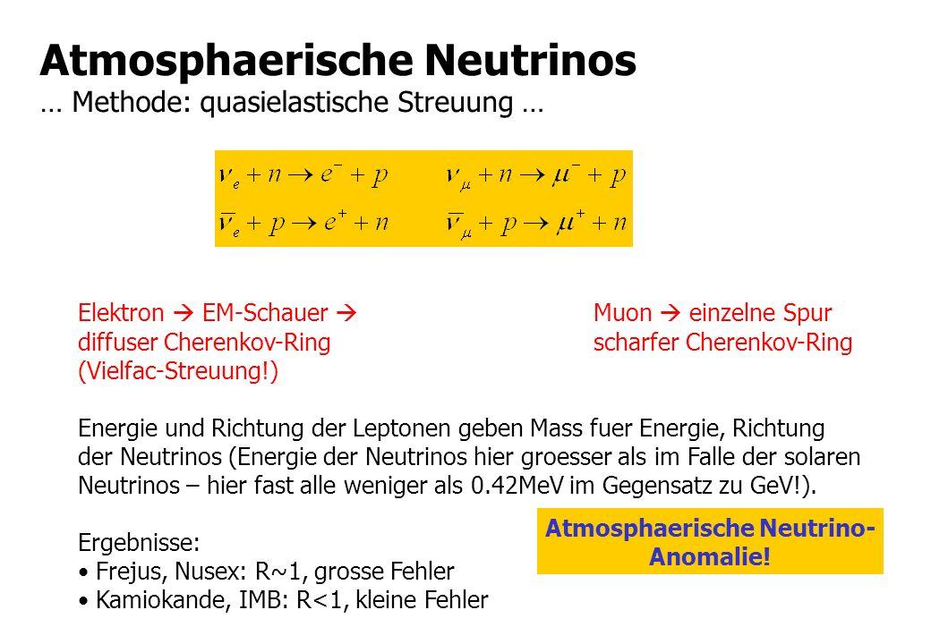 Atmosphaerische Neutrinos … Methode: quasielastische Streuung …