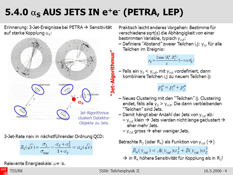 5.4.0 S AUS JETS IN e+e- (PETRA, LEP)