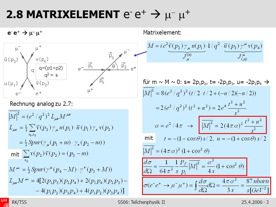 2.8 MATRIXELEMENT e- e+  m- m+