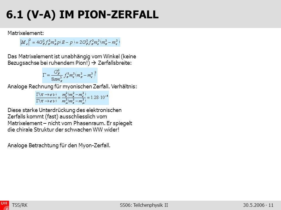 6.1 (V-A) IM PION-ZERFALL Matrixelement: