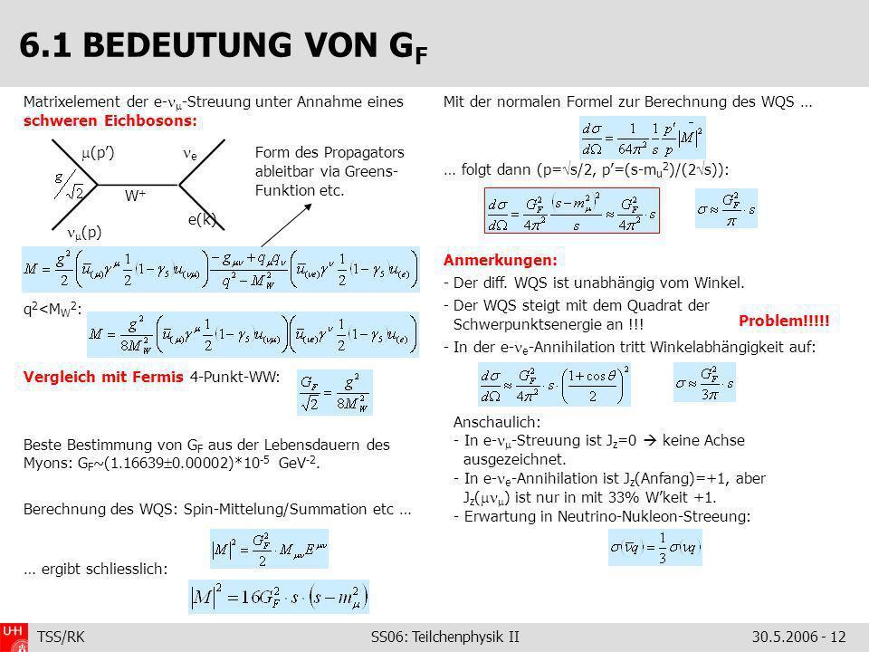 6.1 BEDEUTUNG VON GF Matrixelement der e--Streuung unter Annahme eines schweren Eichbosons: q2<MW2: