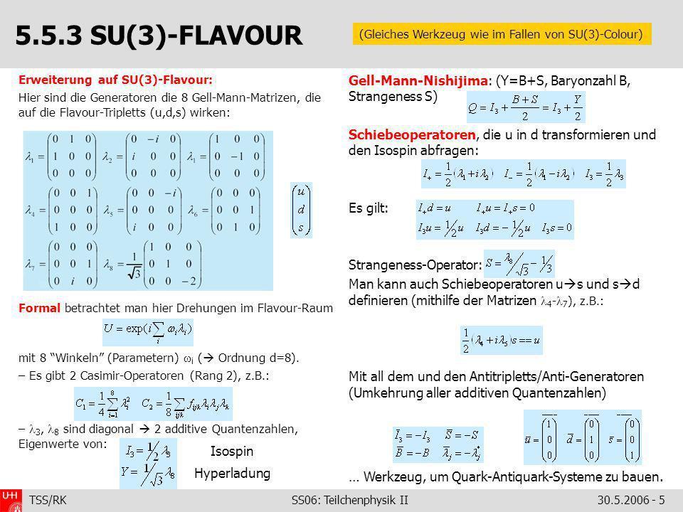 5.5.3 SU(3)-FLAVOUR (Gleiches Werkzeug wie im Fallen von SU(3)-Colour) Erweiterung auf SU(3)-Flavour: