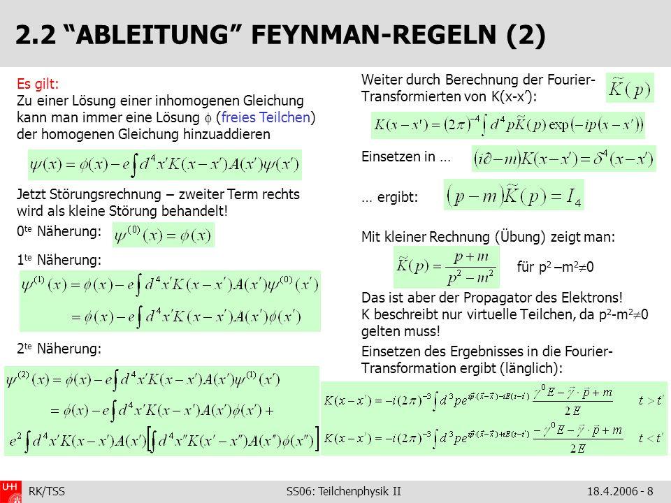 2.2 ABLEITUNG FEYNMAN-REGELN (2)
