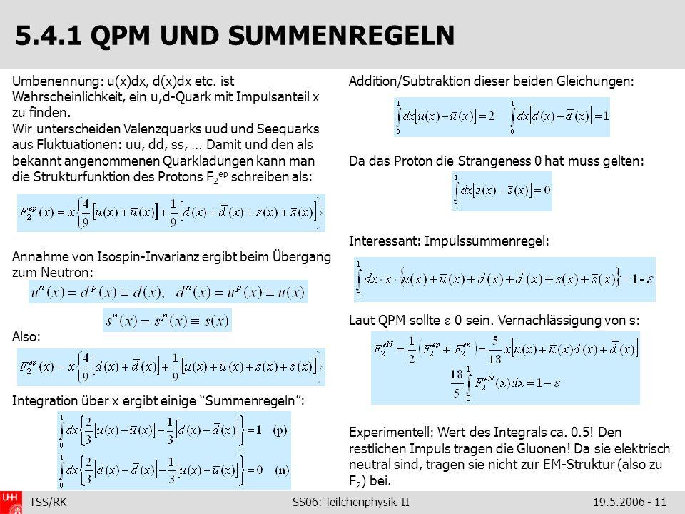 5.4.1 QPM UND SUMMENREGELN Umbenennung: u(x)dx, d(x)dx etc. ist Wahrscheinlichkeit, ein u,d-Quark mit Impulsanteil x zu finden.