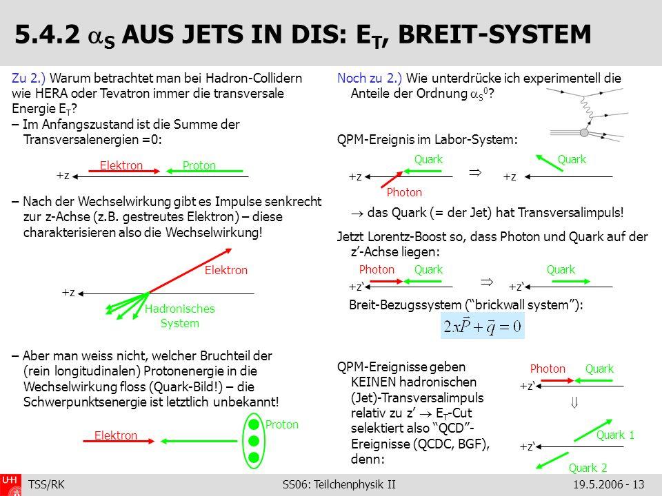 5.4.2 S AUS JETS IN DIS: ET, BREIT-SYSTEM