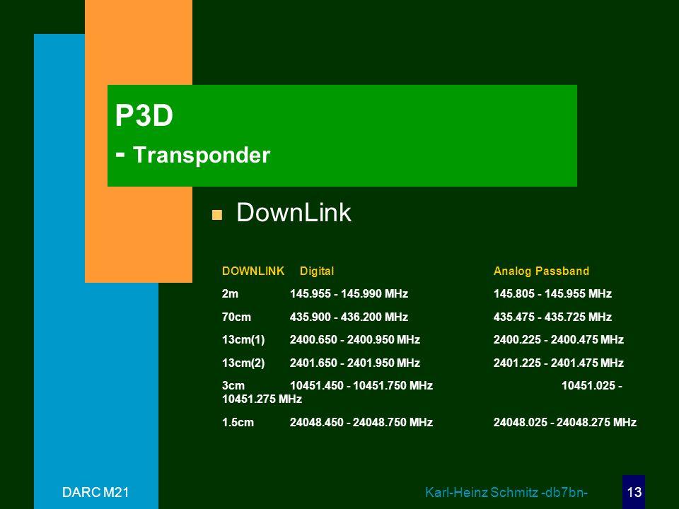 P3D - Transponder DownLink DARC M21 Karl-Heinz Schmitz -db7bn-