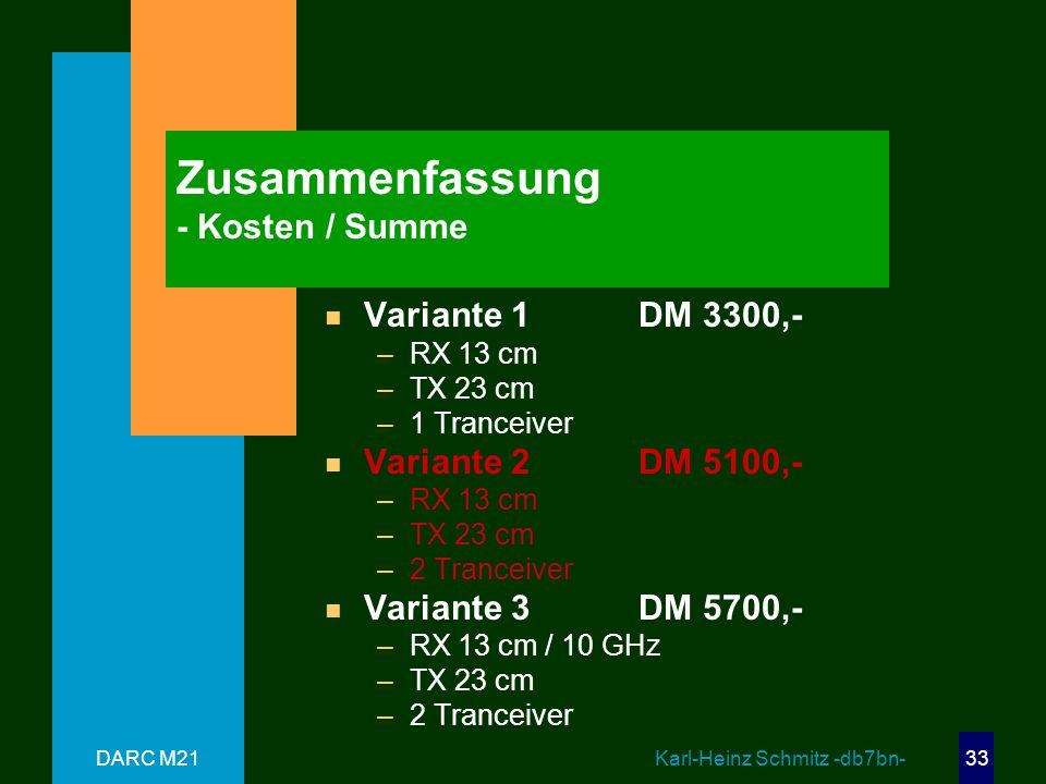 Zusammenfassung - Kosten / Summe