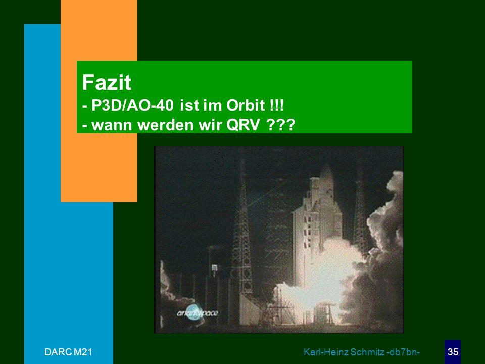 Fazit - P3D/AO-40 ist im Orbit !!! - wann werden wir QRV
