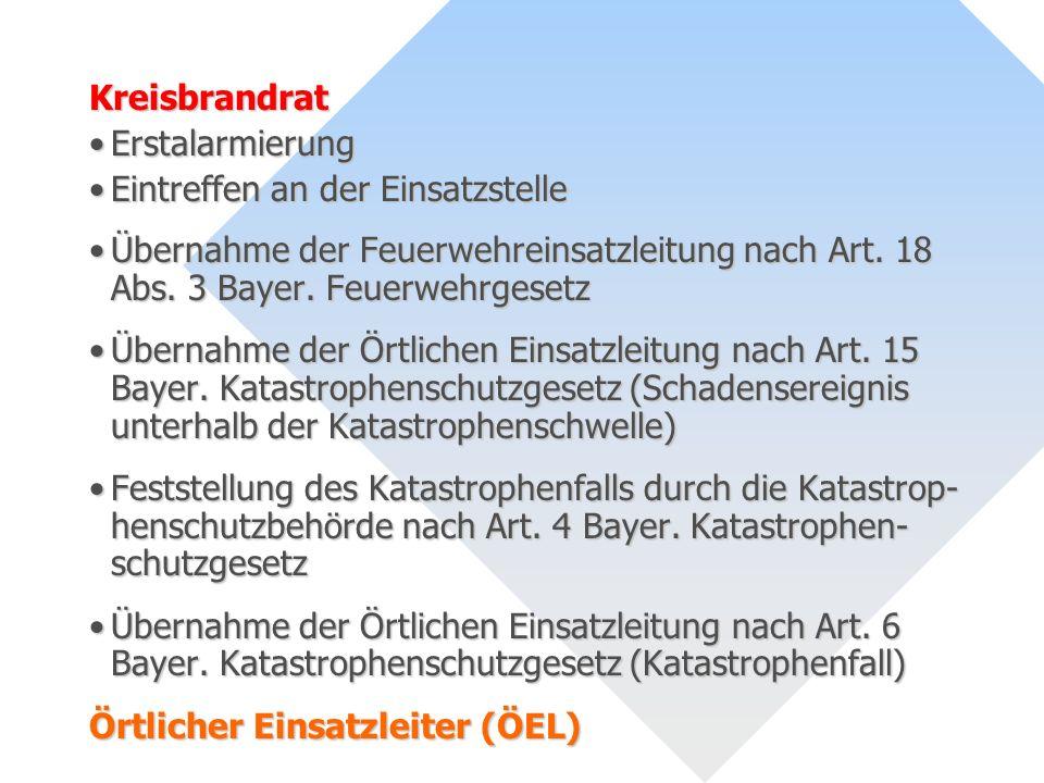 Kreisbrandrat Erstalarmierung. Eintreffen an der Einsatzstelle. Übernahme der Feuerwehreinsatzleitung nach Art. 18 Abs. 3 Bayer. Feuerwehrgesetz.