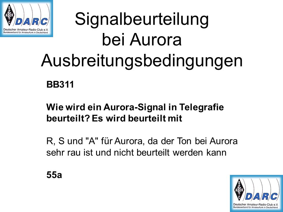 Signalbeurteilung bei Aurora Ausbreitungsbedingungen