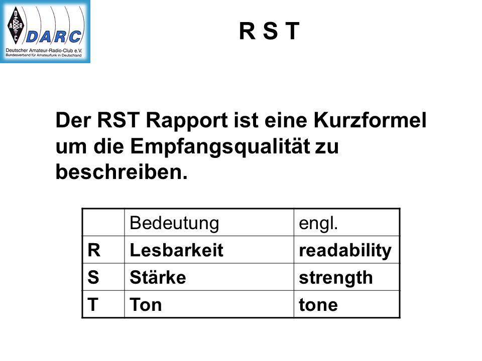 R S T Der RST Rapport ist eine Kurzformel um die Empfangsqualität zu beschreiben. Bedeutung. engl.
