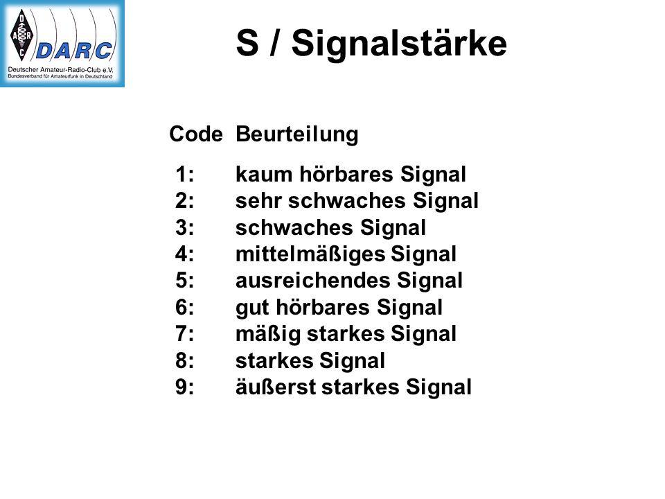 S / Signalstärke Code Beurteilung