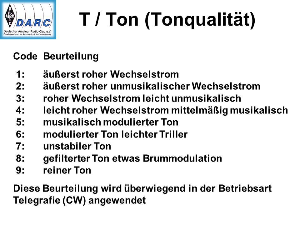 T / Ton (Tonqualität) Code Beurteilung