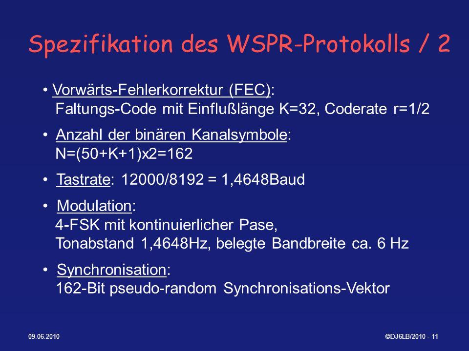Spezifikation des WSPR-Protokolls / 2