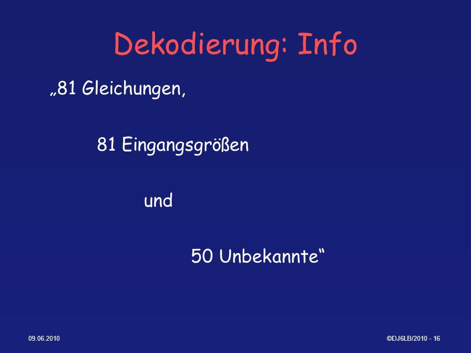 """Dekodierung: Info """"81 Gleichungen, 81 Eingangsgrößen und"""