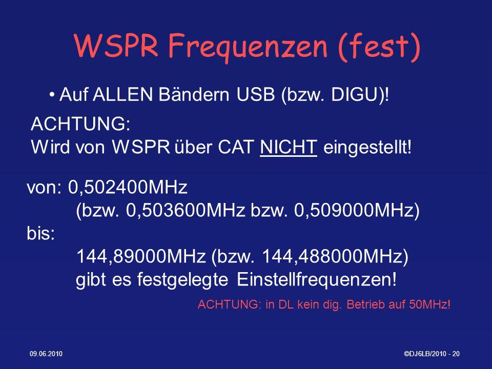 WSPR Frequenzen (fest)