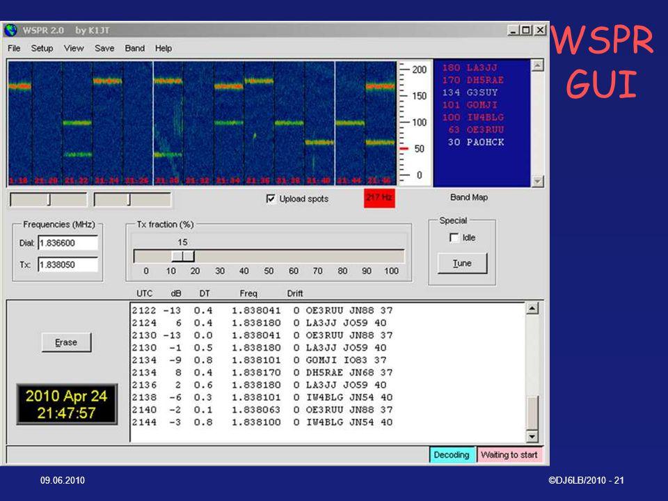 WSPR GUI 09.06.2010 ©DJ6LB/2010 - 21