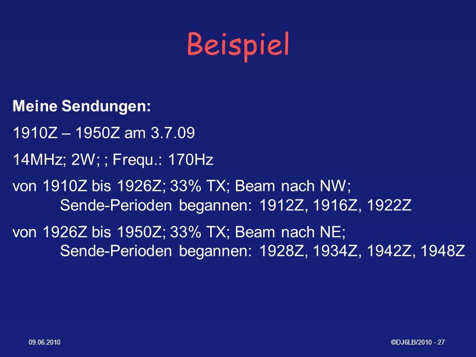 Beispiel Meine Sendungen: 1910Z – 1950Z am 3.7.09