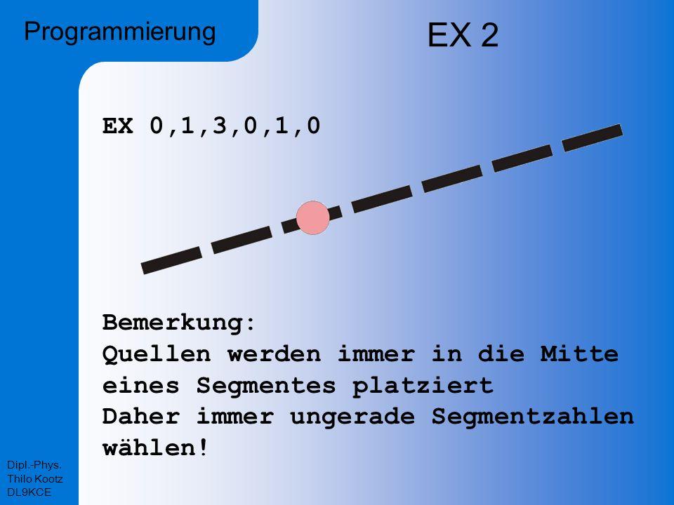 EX 2 Programmierung EX 0,1,3,0,1,0 Bemerkung:
