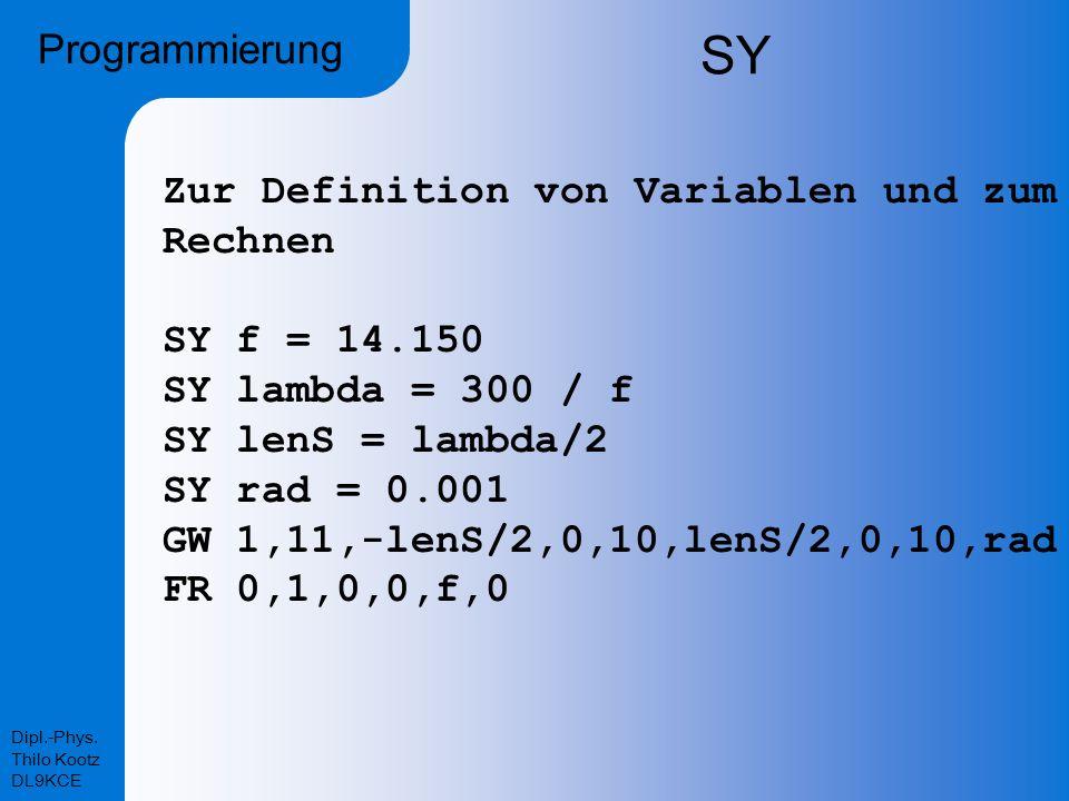 SY Programmierung Zur Definition von Variablen und zum Rechnen