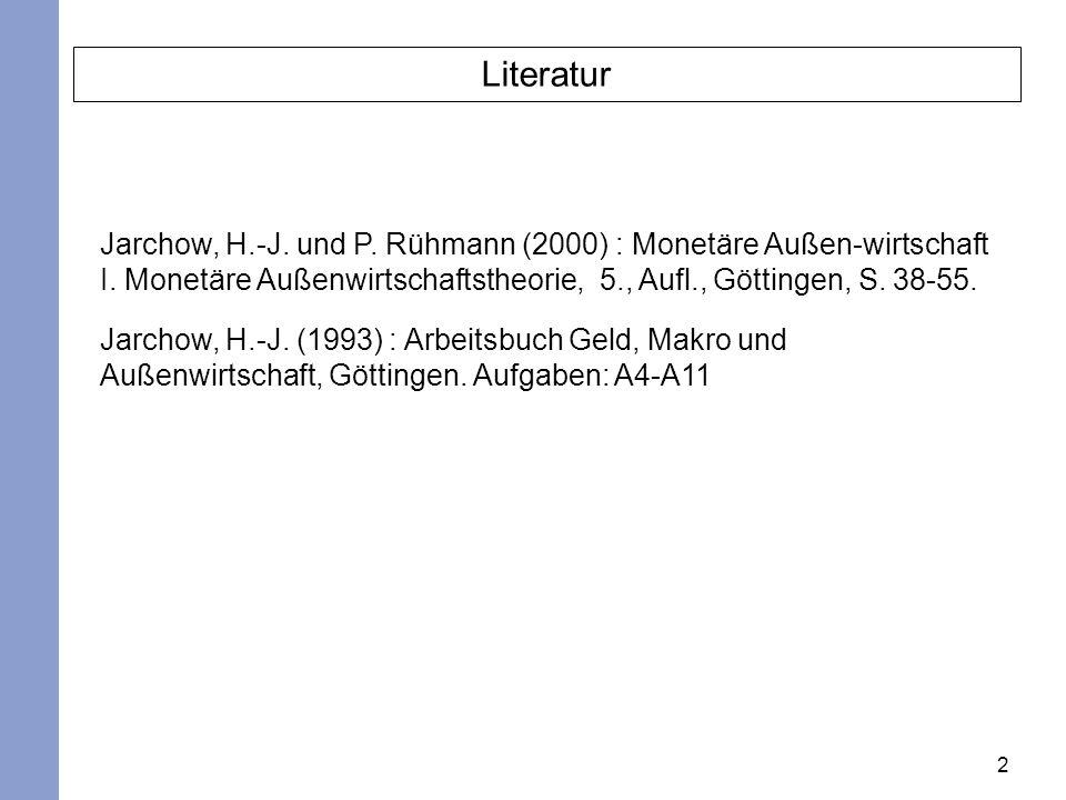 Literatur Jarchow, H.-J. und P. Rühmann (2000) : Monetäre Außen-wirtschaft I. Monetäre Außenwirtschaftstheorie, 5., Aufl., Göttingen, S. 38-55.