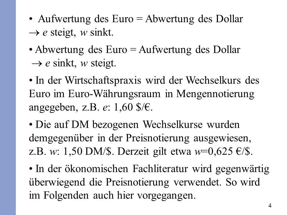 Aufwertung des Euro = Abwertung des Dollar  e steigt, w sinkt.