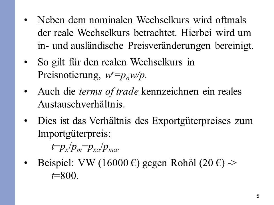 So gilt für den realen Wechselkurs in Preisnotierung, wr=paw/p.