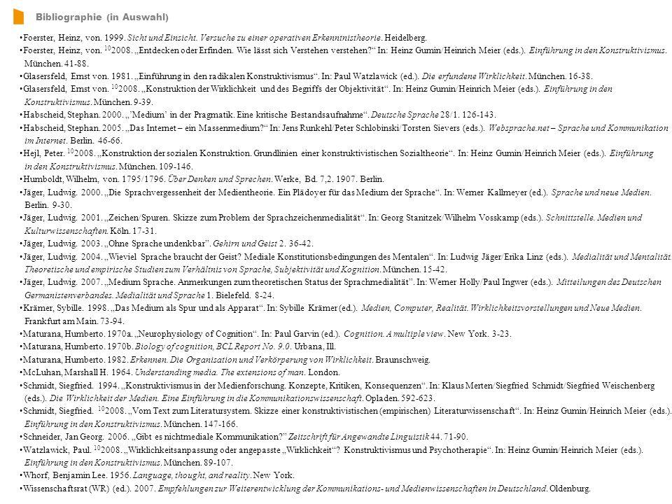 Bibliographie (in Auswahl)