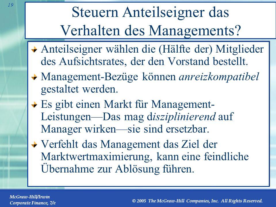 Steuern Anteilseigner das Verhalten des Managements