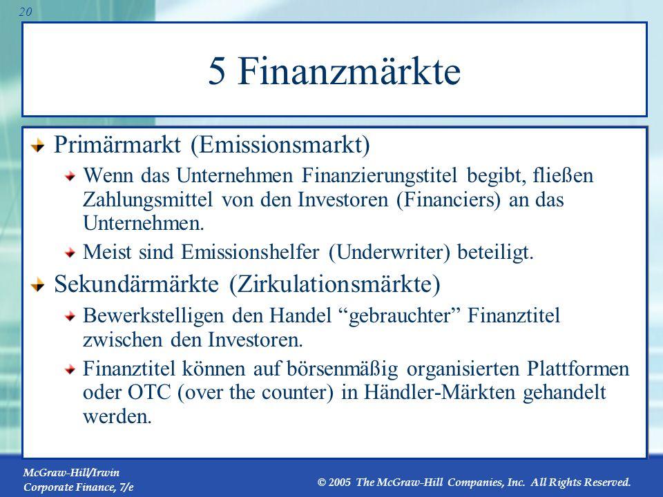 5 Finanzmärkte Primärmarkt (Emissionsmarkt)