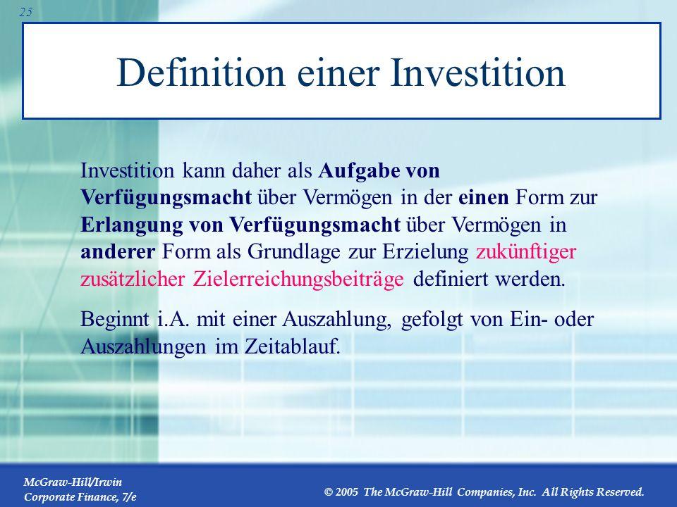 Definition einer Investition
