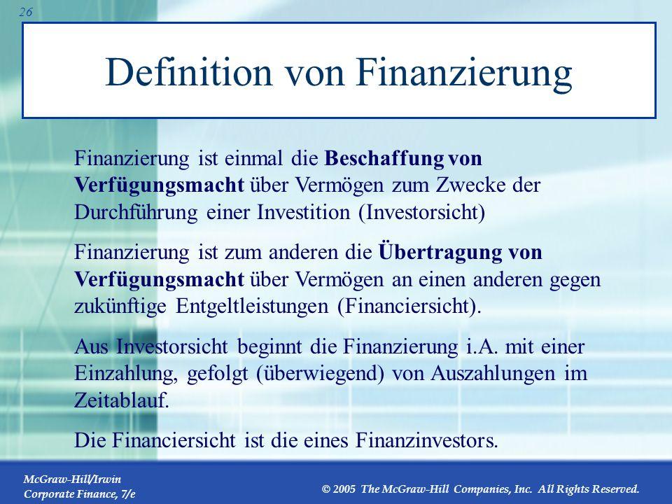 Definition von Finanzierung