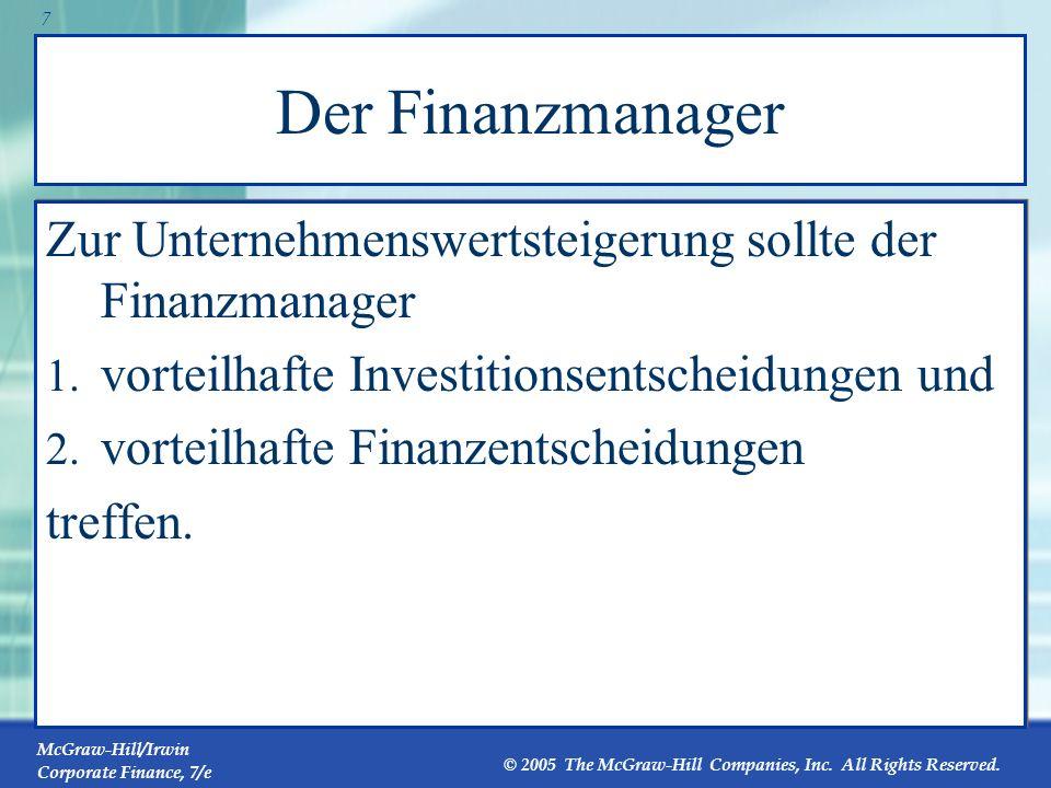 Der Finanzmanager Zur Unternehmenswertsteigerung sollte der Finanzmanager. vorteilhafte Investitionsentscheidungen und.