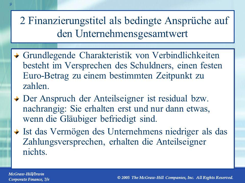 2 Finanzierungstitel als bedingte Ansprüche auf den Unternehmensgesamtwert