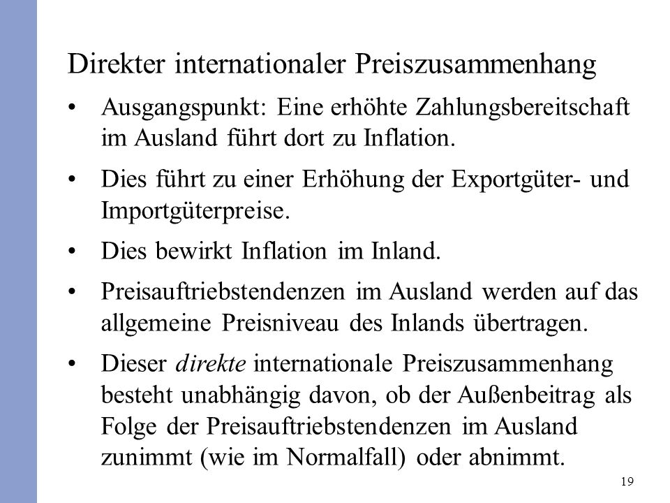 Direkter internationaler Preiszusammenhang