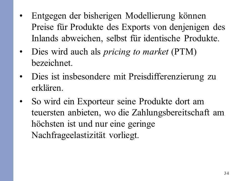 Entgegen der bisherigen Modellierung können Preise für Produkte des Exports von denjenigen des Inlands abweichen, selbst für identische Produkte.