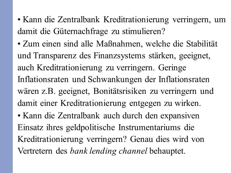 Kann die Zentralbank Kreditrationierung verringern, um damit die Güternachfrage zu stimulieren