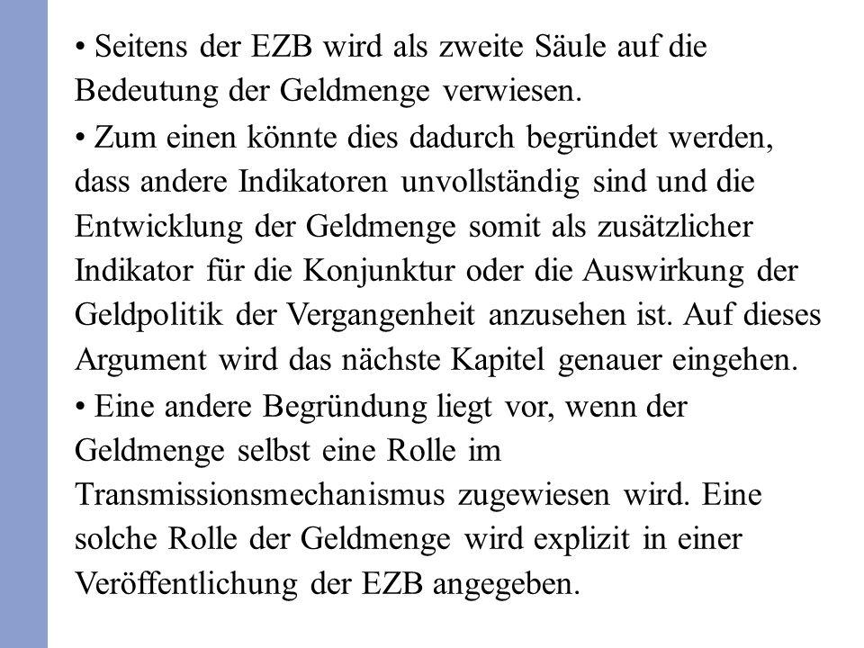 Seitens der EZB wird als zweite Säule auf die Bedeutung der Geldmenge verwiesen.