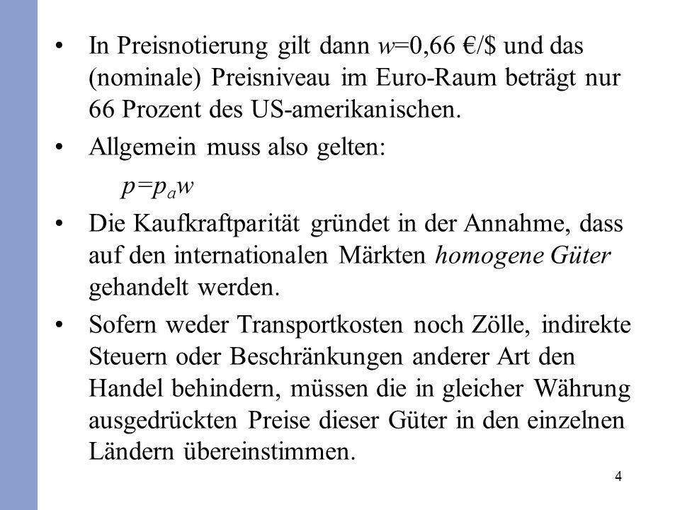 In Preisnotierung gilt dann w=0,66 €/$ und das (nominale) Preisniveau im Euro-Raum beträgt nur 66 Prozent des US-amerikanischen.