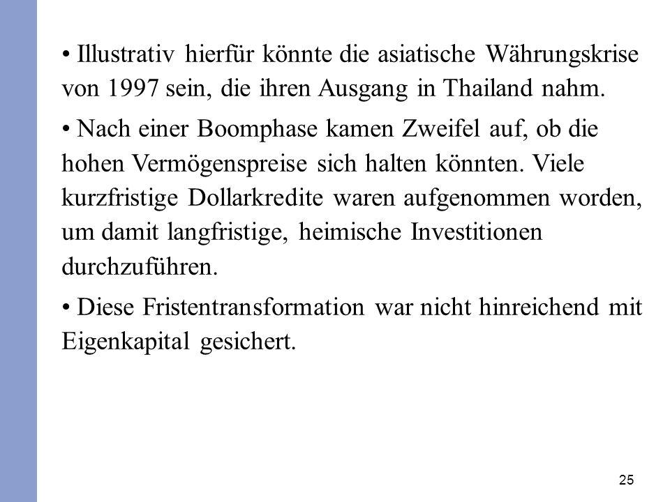 Illustrativ hierfür könnte die asiatische Währungskrise von 1997 sein, die ihren Ausgang in Thailand nahm.