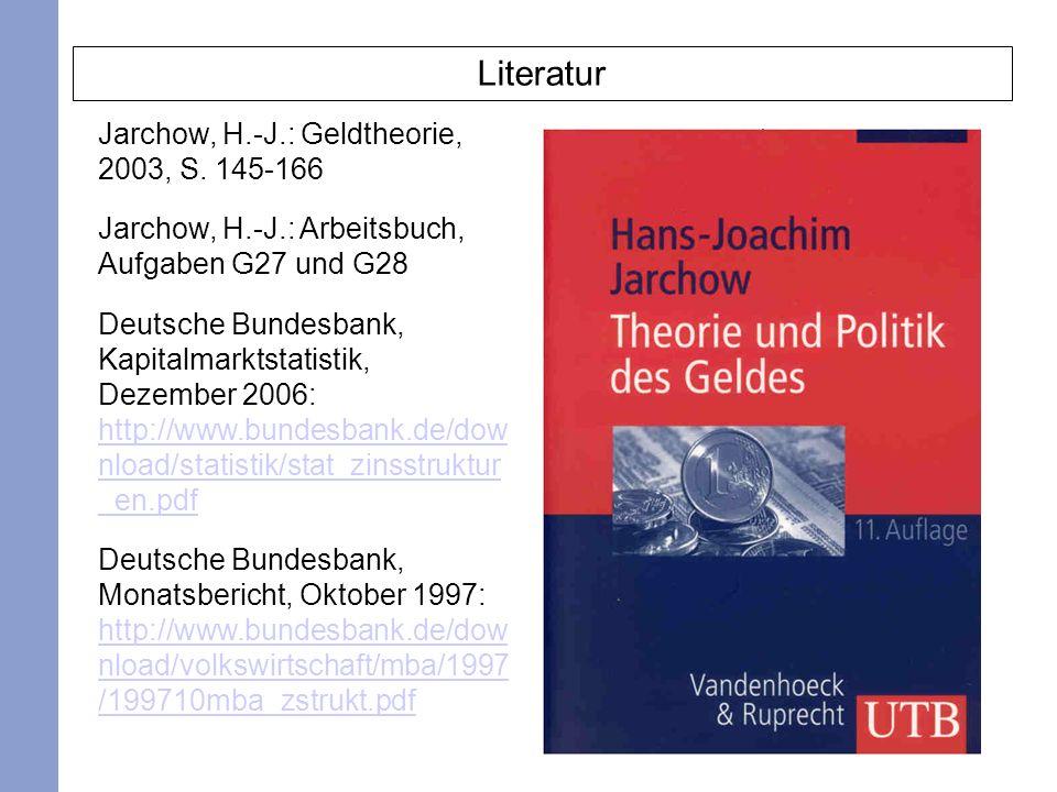 Literatur Jarchow, H.-J.: Geldtheorie, 2003, S. 145-166